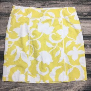 Ann Taylor Skirt Yellow Floral Orchid Cotton